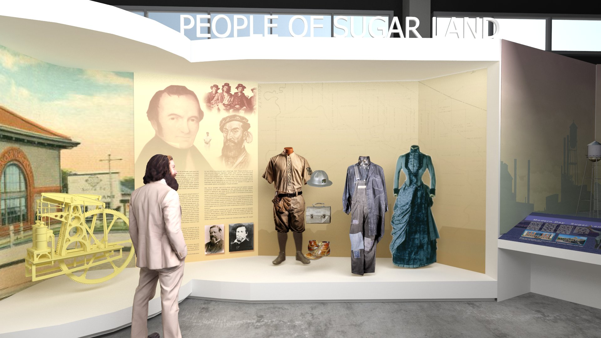 Illustration of the Sugar Land Heritage Foundation's People of Sugar Land Exhibit